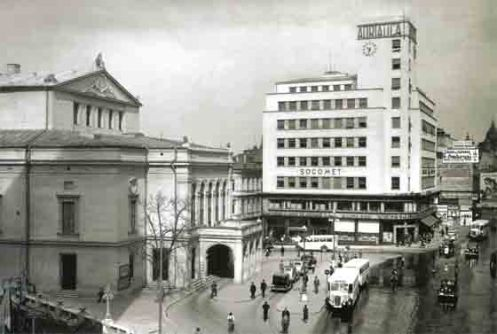 Old National Theater and Socomet building, Bucharest 1942