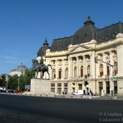 Calea Victoriei in front of Carol I University Foundation, central Bucharest