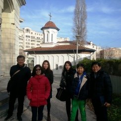Singapore guests exploring the backstreets of Communist Era Civic Center during Bucharest Communism tour, Dec 2015