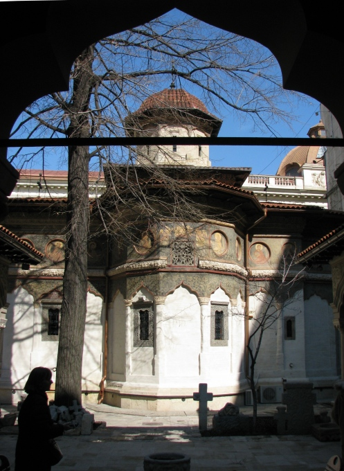 Stavropoleos Church seen through the cloister, historic downtown Bucharest