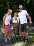Chance encounter with local lady in traditional Romanian costume during Bucharest city tour, Sep2015