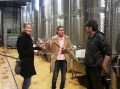 Learning about wine-making at Lacerta Winery during tour, Sep 2013