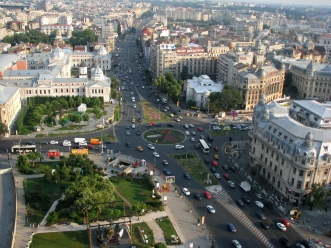 Overview of the University Square, downtown Bucharest