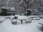 Chess Players Corner under Snow in CismigiuGarden
