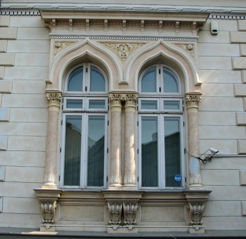 Early Neo-Romanian style windows of a late 19th century villa, Bucharest