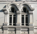 Neo-Romanian style house windows with Art Nouveau features, Bucharest, Negustori neighborhood area