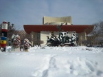 National Theater Esplanade under the snow,Bucharest