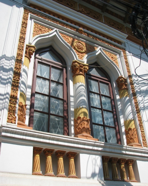 Colorful early Neo-Romanian style house windows, Bucharest