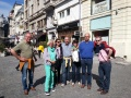 Cheerful visitors enjoying a stroll in Bucharest's Old Town