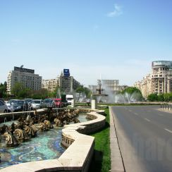 Unirii Square, view to the Palace of Parliament, downtown Bucharest