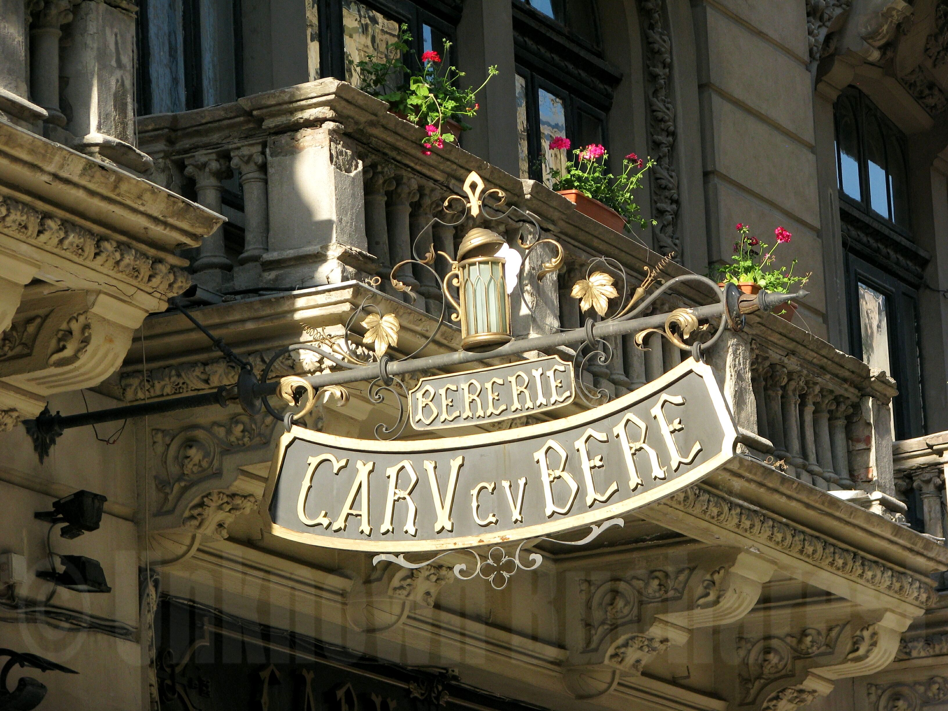 Sign Over Entrance To Famous Caru Cu Bere Bucharest