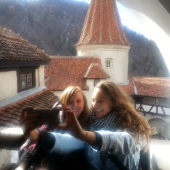 Taking the perfect selfie at Bran Castle, Transylvania, April 2017