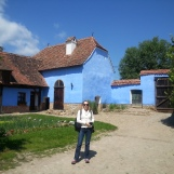 In the courtyard of Prince Charles' house in Viscri, Transylvania