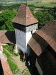 Top view from the tower of the fortified church of Viscri,Transylvania