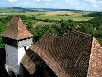 The village of Viscri, Transylvania, top view from the Church Tower