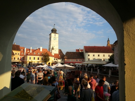 Vibrant and Lively Atmosphere in The Small Square of Sibiu
