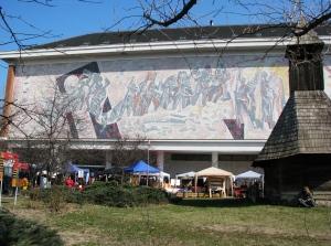 Communist era mosaic Peasant Museum Bucharest