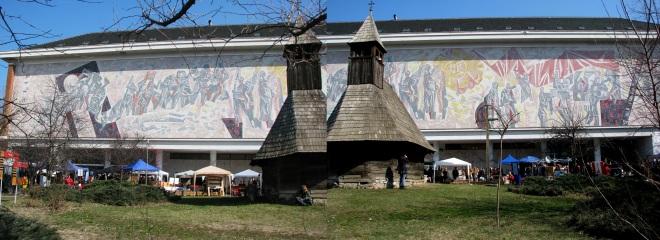 Communist era proletcult style mosaic panorama Peasant Museum Bucharest
