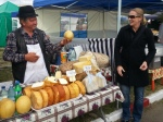 Cheese maker offering his products during Wine Harvest Festival, Sep2013