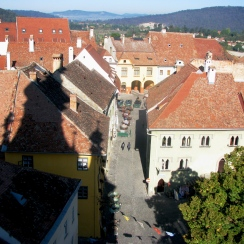 Sighisoara top view from the Clock Tower