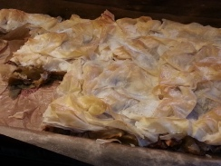 Apple pie at local deli shop in Bucharest Old Town