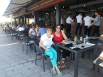 Waiting for lunch at terrace restaurant in Constanta duringtour