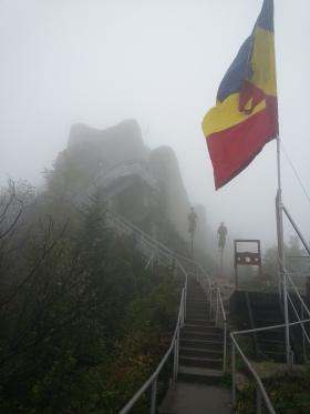 Arriving at Poienari Citadel in the fog