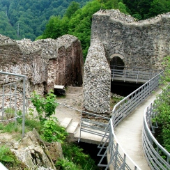 Ruins of the secluded Poienari Citadel, refuge of the legendary Prince Vlad Dracula