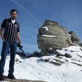 Rodrigo at the Sphinx of Bucegi, Babele Plateau, Oct 2013