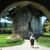 Entering Moldovita Monastery, Bukovina, Romania
