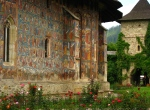 Amazing exterior frescoes at Moldovita Monastery, Bukovina,Romania