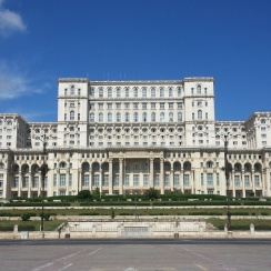 Front side of The Palace of Parliament, Bucharest - the second largest building in the world