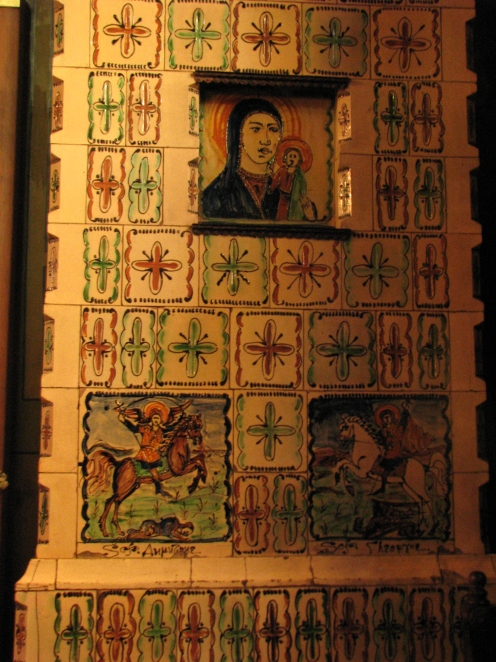 Stove with hand painted tiles with biblical scenes Silvestru Church Bucharest