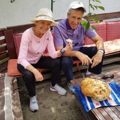 Sampling fresh out the oven traditional bread, in the village of Viscri, Transylvania, June 2018