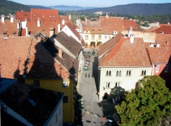 Overview from the Clock Tower, Sighisoara Transylvania