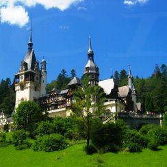 Summer lush green at Peles Castle, Romania