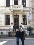 Cris your Bucharest guide with Connie in front of Belle Epoque building, central Bucharest, April 2018