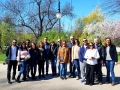 Cheerful guests from Cyprus in Cismigiu Garden, Bucharest, during city tour, March 2019