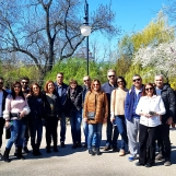 Guests from Cyprus in Cismigiu Garden during Bucharest tour, March 2019