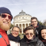 Selfie with happy Italian visitors during Bucharest tour, March 2019