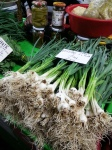 Spring green garlic at farmers' market, Bucharest