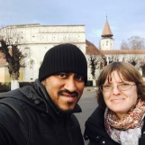 In front of Prejmer Fortified Church with Rajesh, Dec 2017