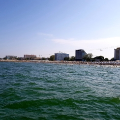 View of the beach resort of Mamaia from the sea, Romania