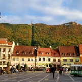 In the main square of Brasov, Transylvania, in October