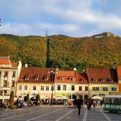 In the main square of Brasov, Transylvania, in October