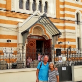 In front of synagogue during Bucharest Jewish Tour, Sep 2018