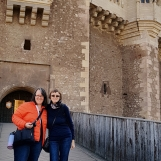 Cris your guide with new Australian friend at Corvin Castle, Transylvania, Oct 2019