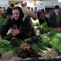 Spring greens at farmer's market Bucharest