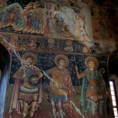Fine Byzantine style frescoes at the Princely Church of Targoviste, Romania