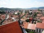 Top view from the tower of evangelical church Bistrita Transylvania